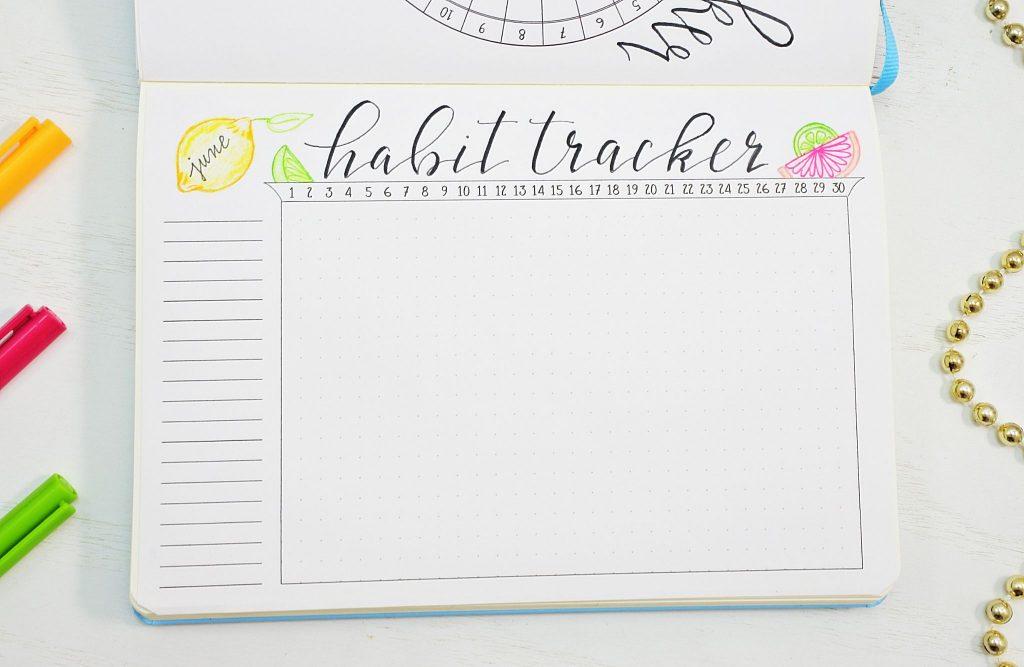 June 2021 Bullet Journal Habit Tracker