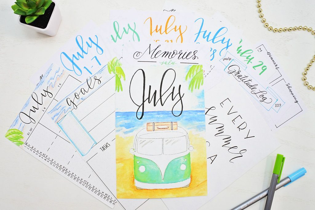 Printable July bullet journal monthly spreads