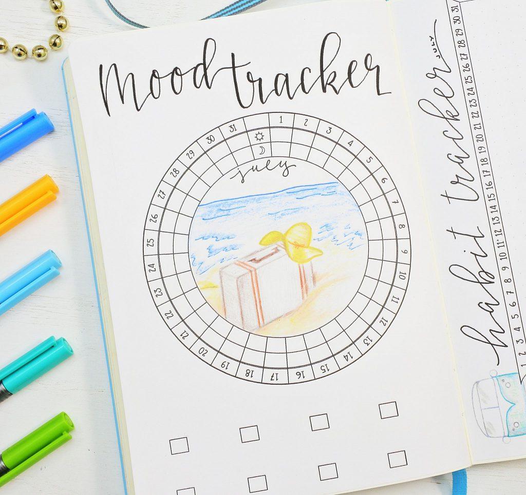 July bullet journal circular mood tracker.