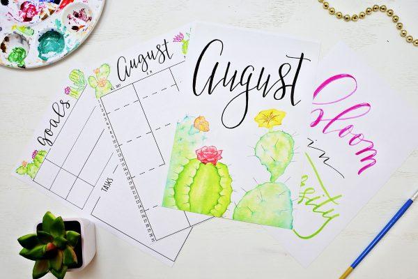 printable bullet journal setup for august 2019