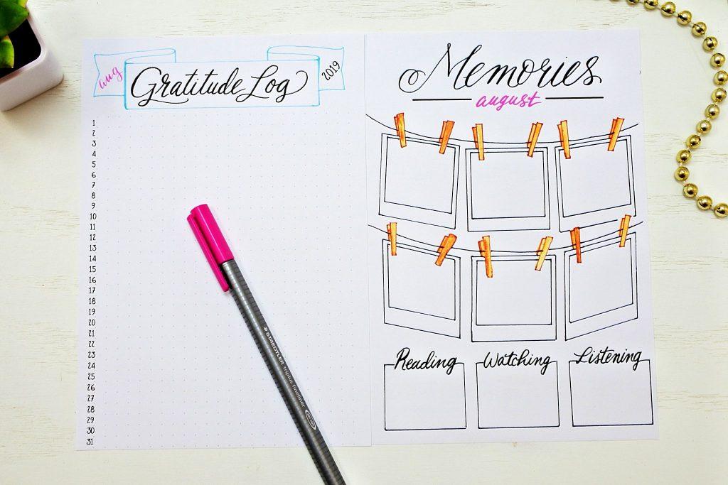 printable gratitude log and memories page