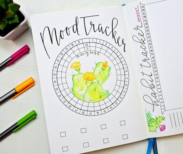 bullet journal mood tracker for august