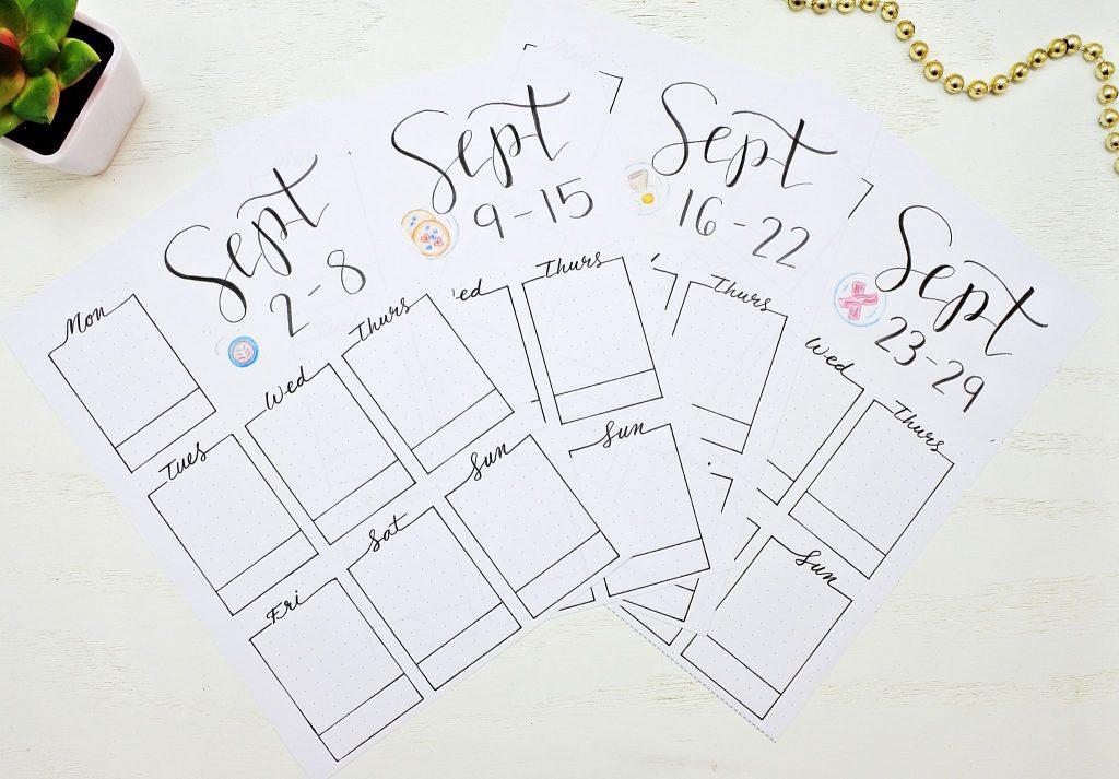Bullet journal weekly spreads for September.