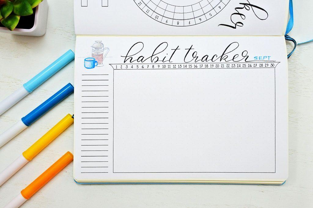 Bullet journal habit tracker for September coffee themed.
