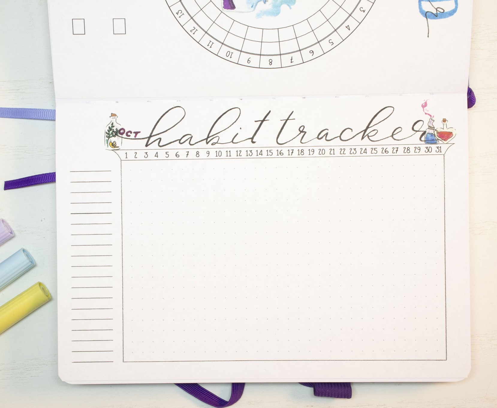October 2020 Bullet Journal habit tracker page.