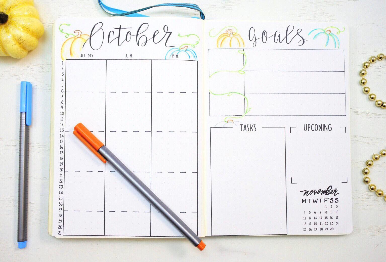Bullet journal monthly spread