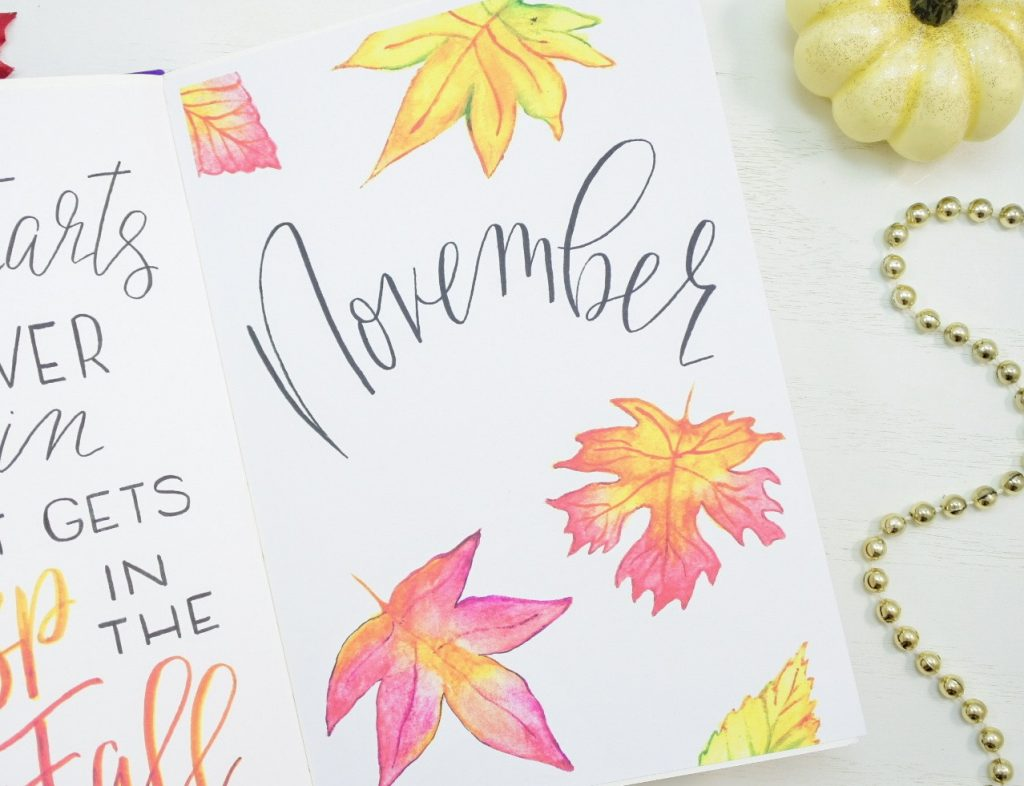 November bullet journal cover page