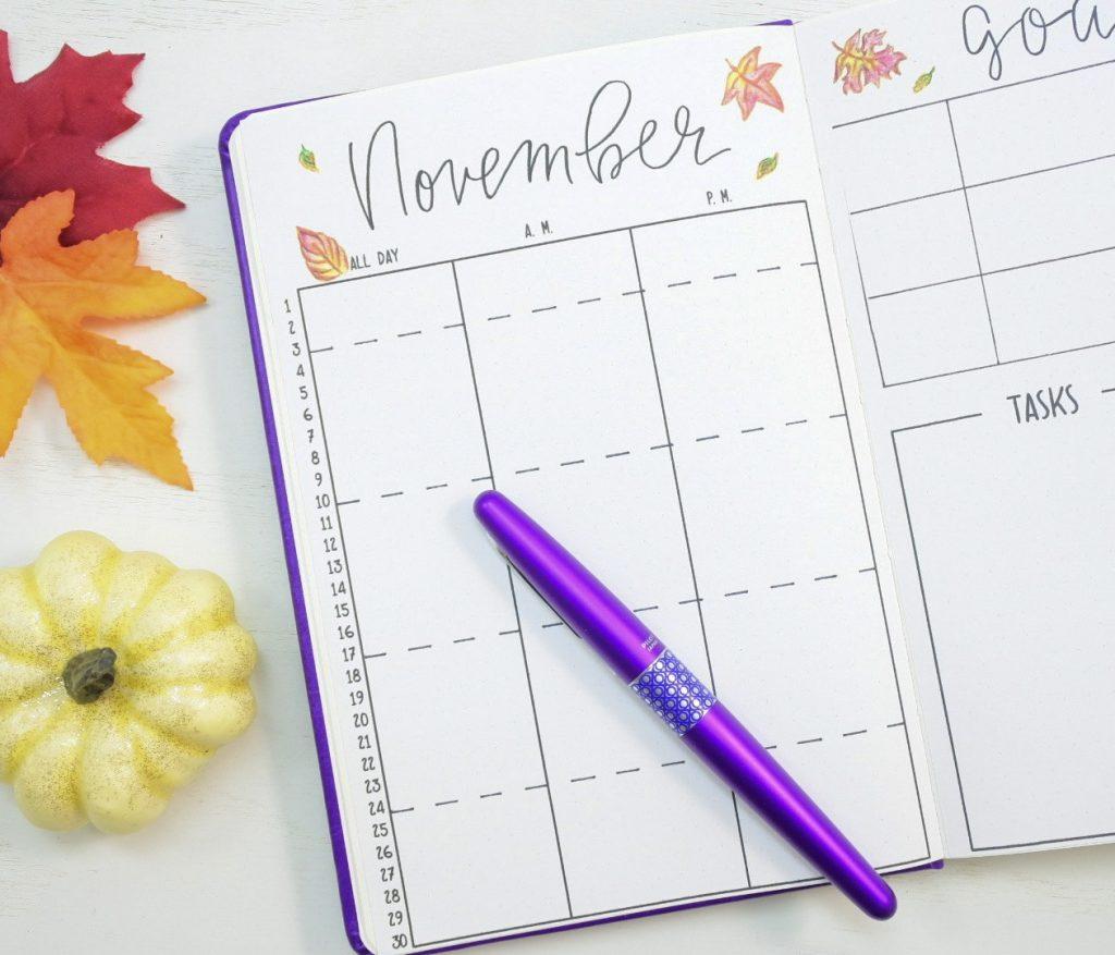 Printable November calendar bullet journal
