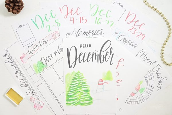 December bullet journal printables