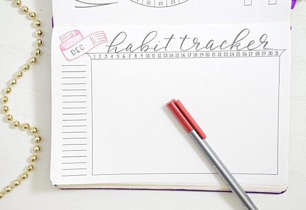 December habit tracker in a bullet journal
