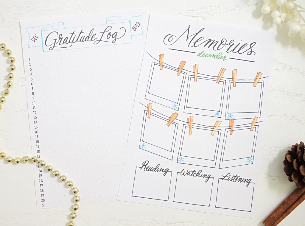 December bullet journal printables