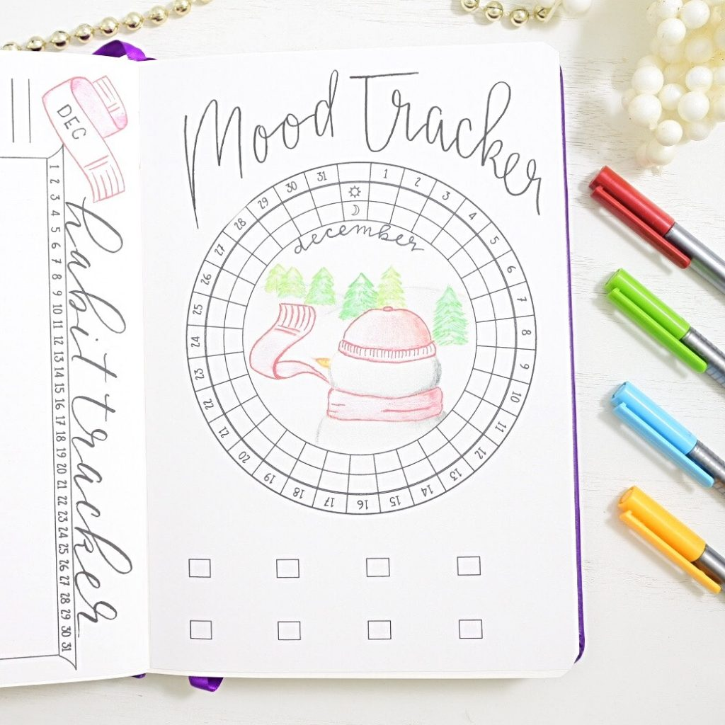 December bullet journal mood tracker