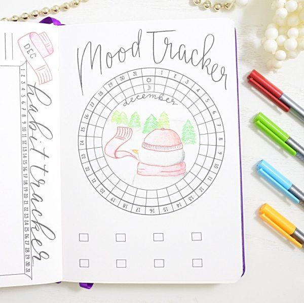 December bullet journal mood tracker