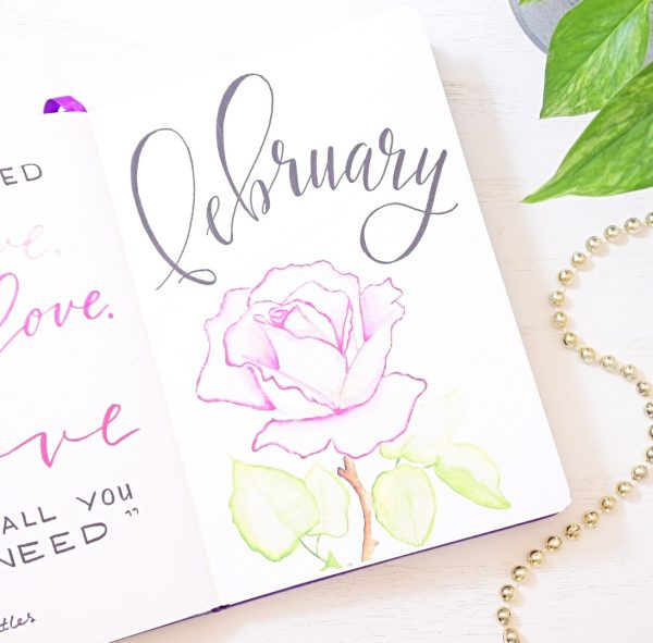 February bullet journal cover page.