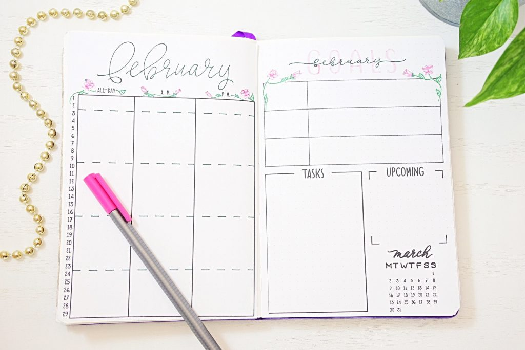 February bullet journal calendar printable.