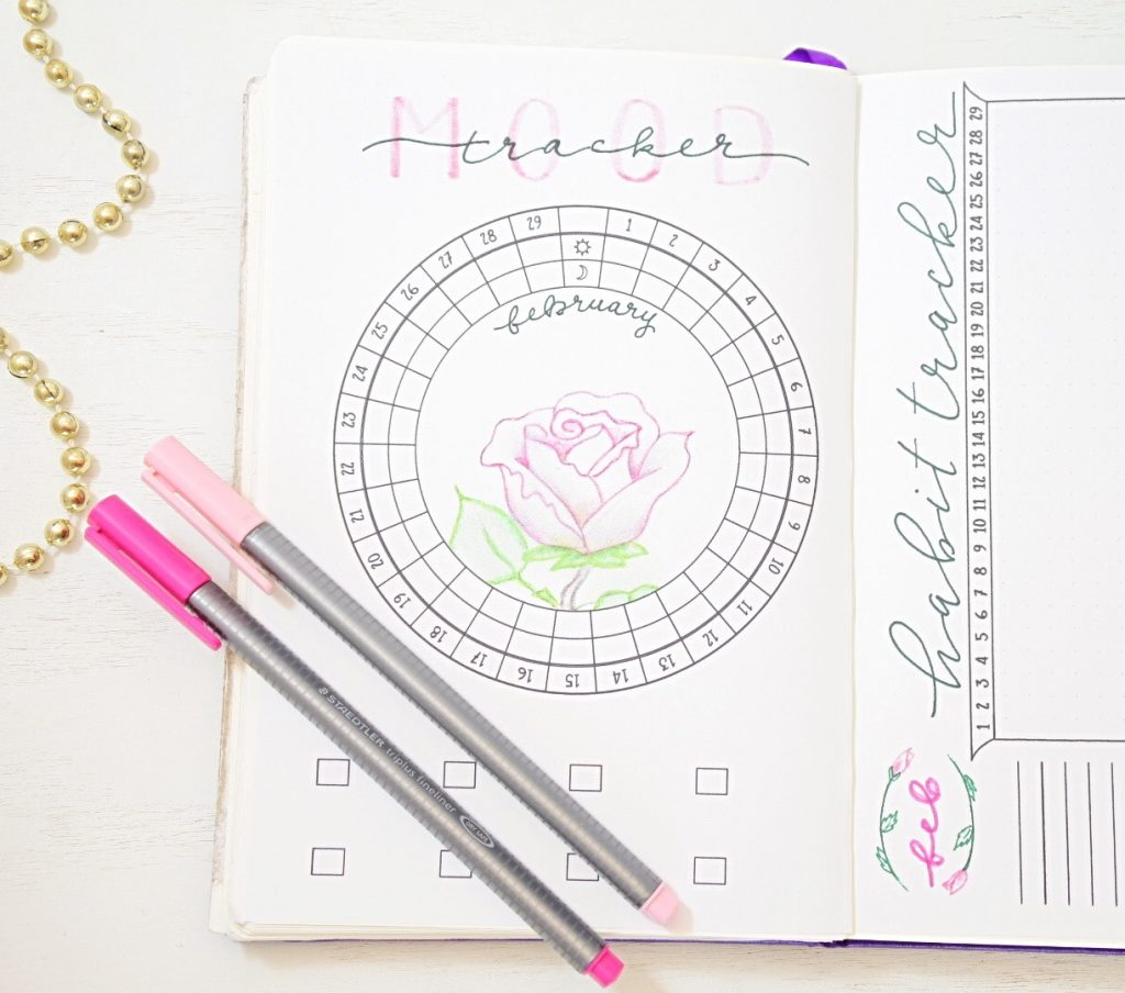 Bullet journal circular mood tracker
