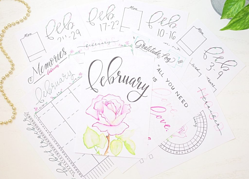 February bullet journal printables.
