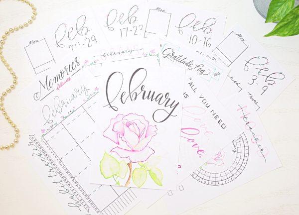 February bullet journal printables.