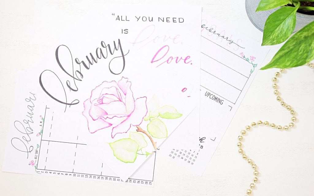Free bullet journal printable for February.