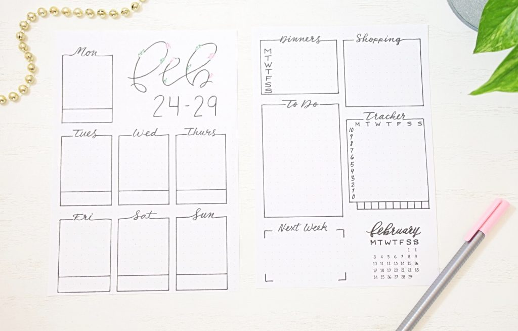 Printable February weekly spreads.