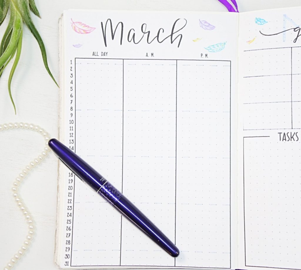 Printable march bullet journal calendar