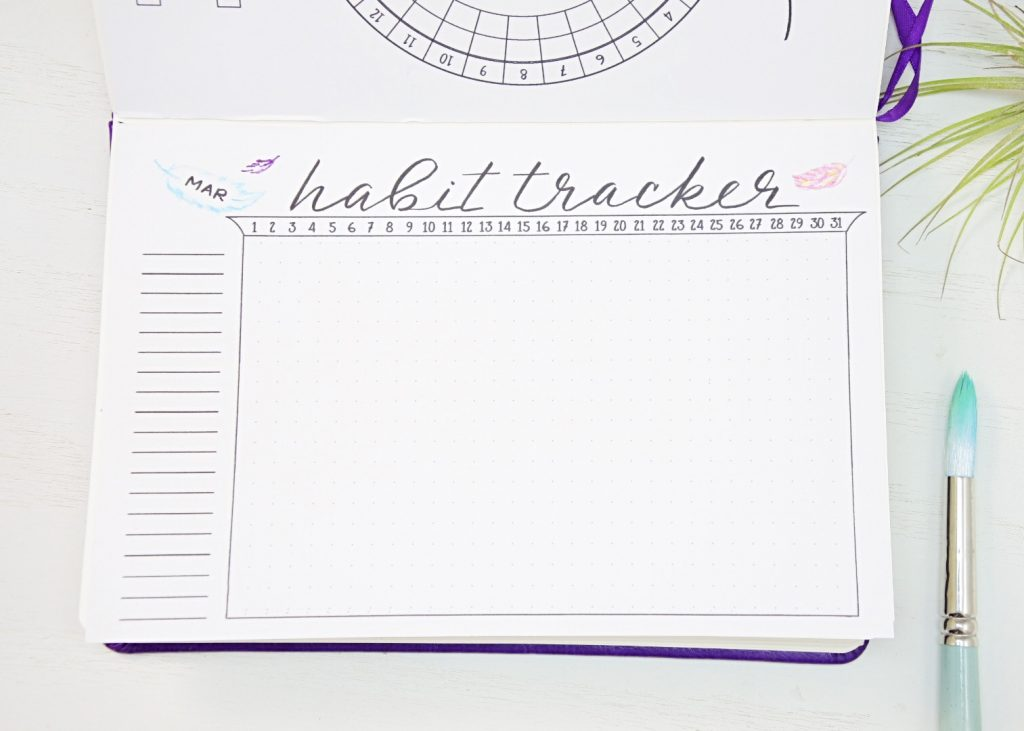 March bullet journal habit trakcer