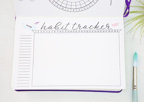 March bullet journal habit trakcer