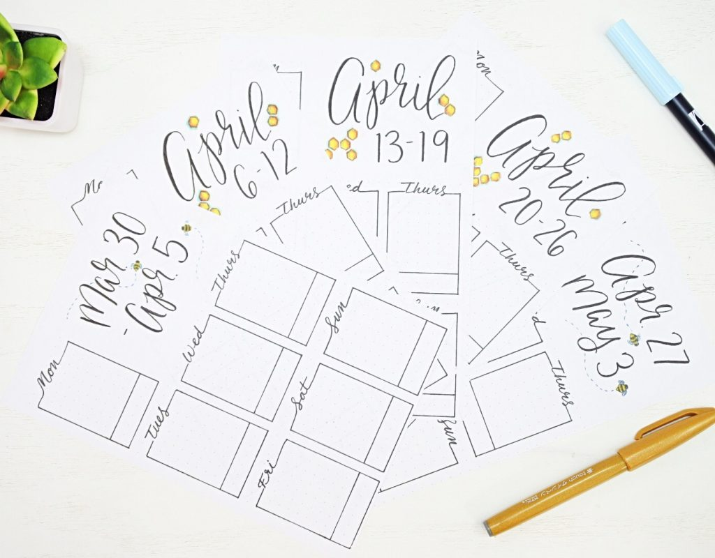 Bullet journal weekly printables