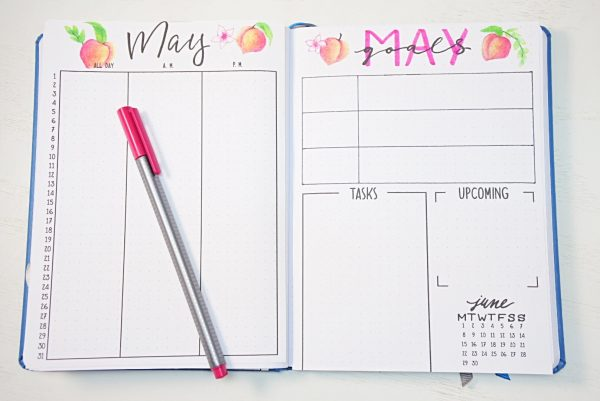 Bullet journal May calendar and monthly spread