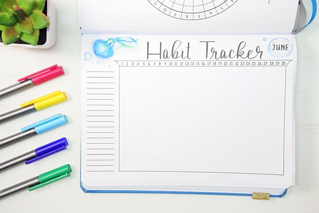 June habit tracker bullet journal