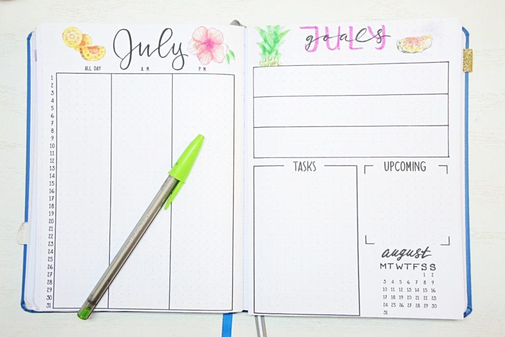 Bullet journal July setup
