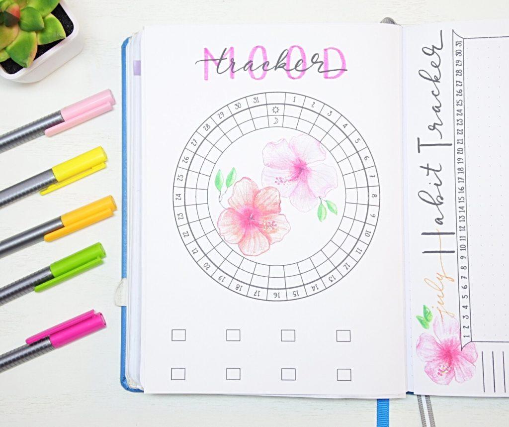July mood tracker bullet journal