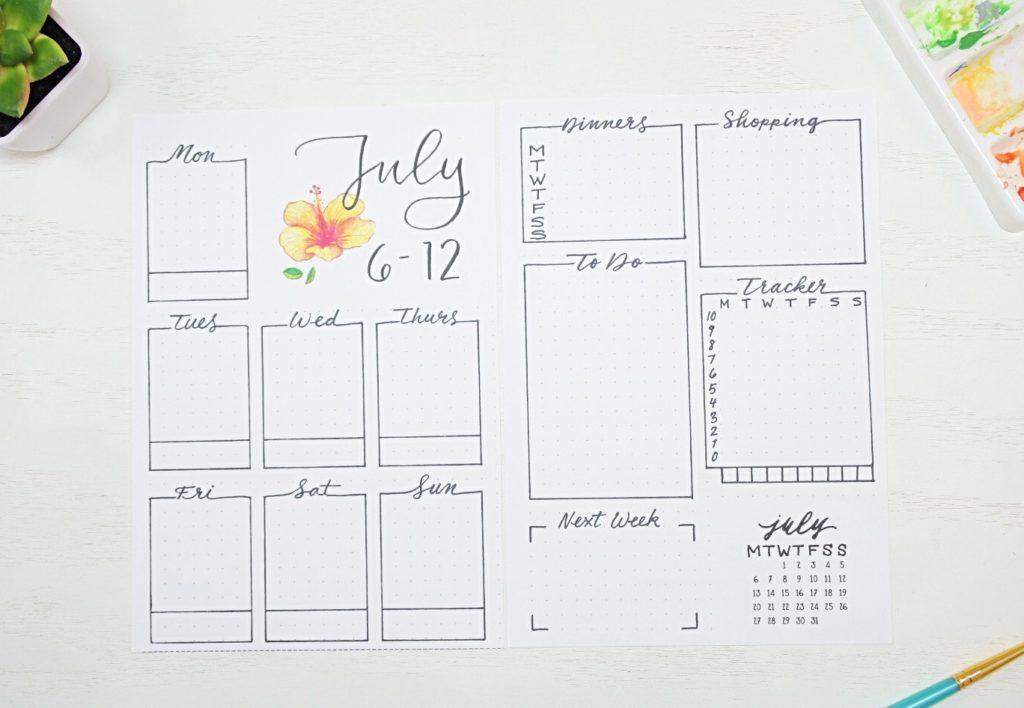 July weekly spread