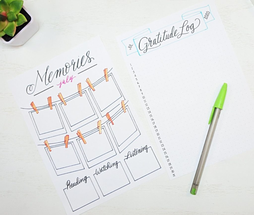 Printable bullet journal setup