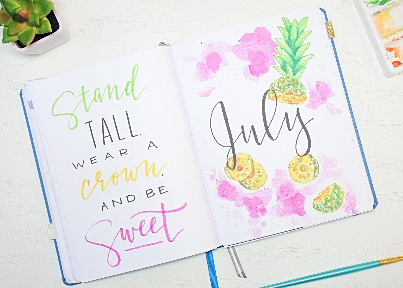 July Bullet Journal Cover pages