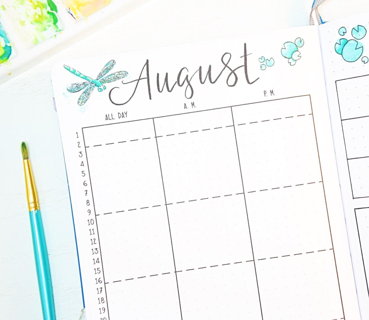 August Bullet journal calendar