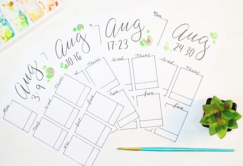 August printable weekly spreads