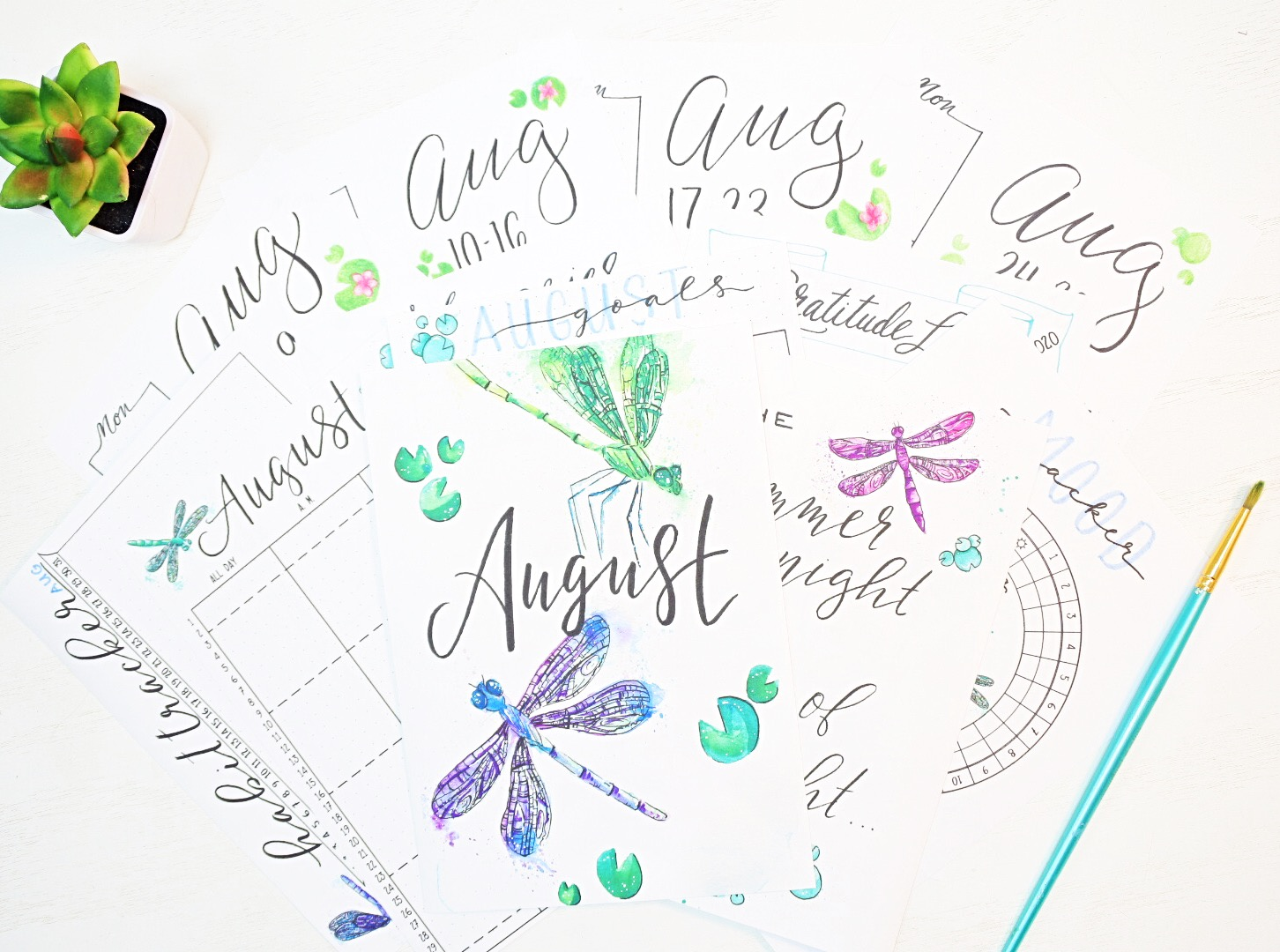 August bullet journal printables