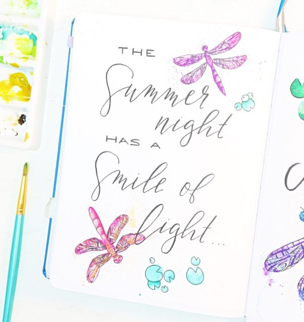 Hand lettered quote bullet journal