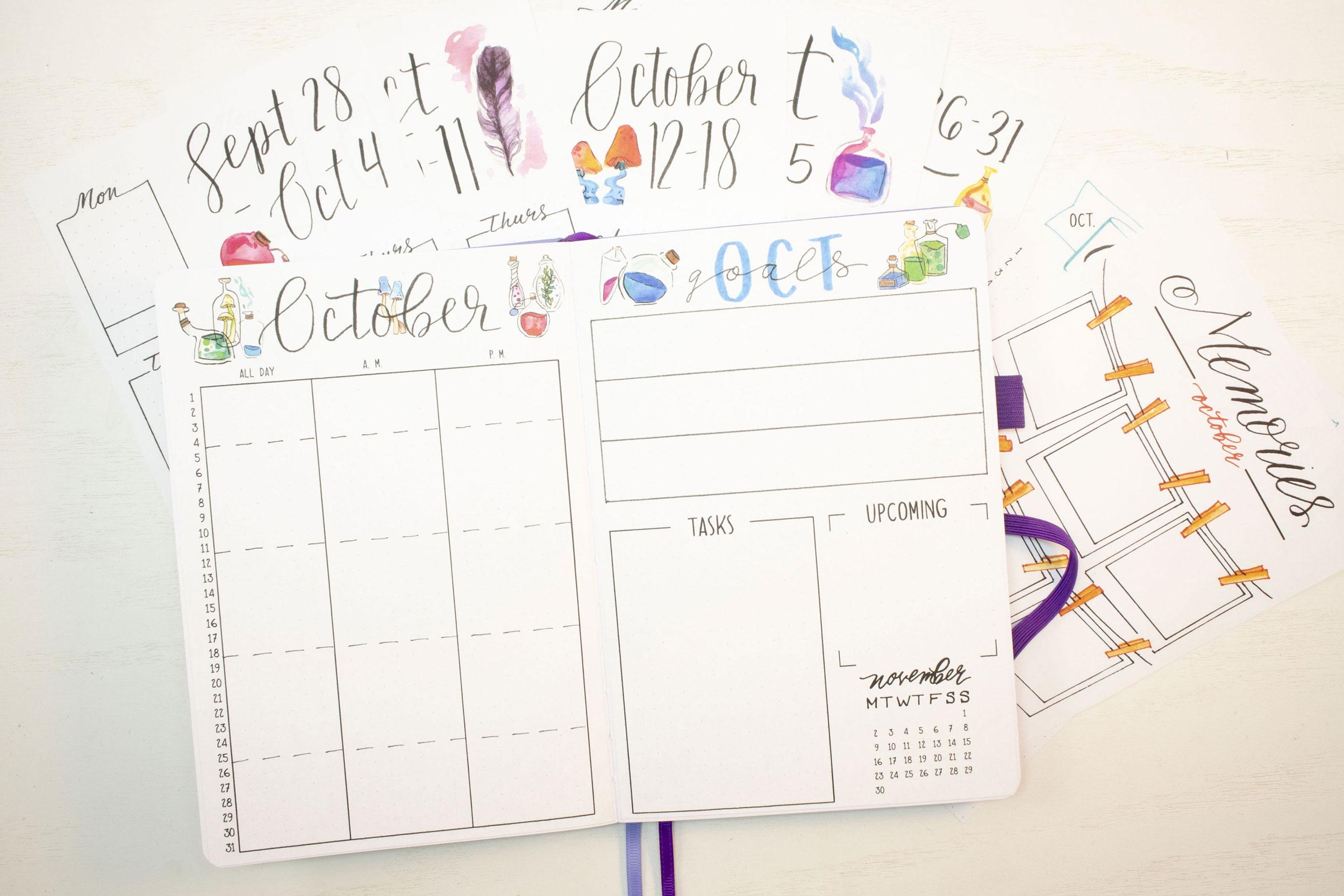 October 2020 Bullet Journal weeklies, calendar, and goals spreads.
