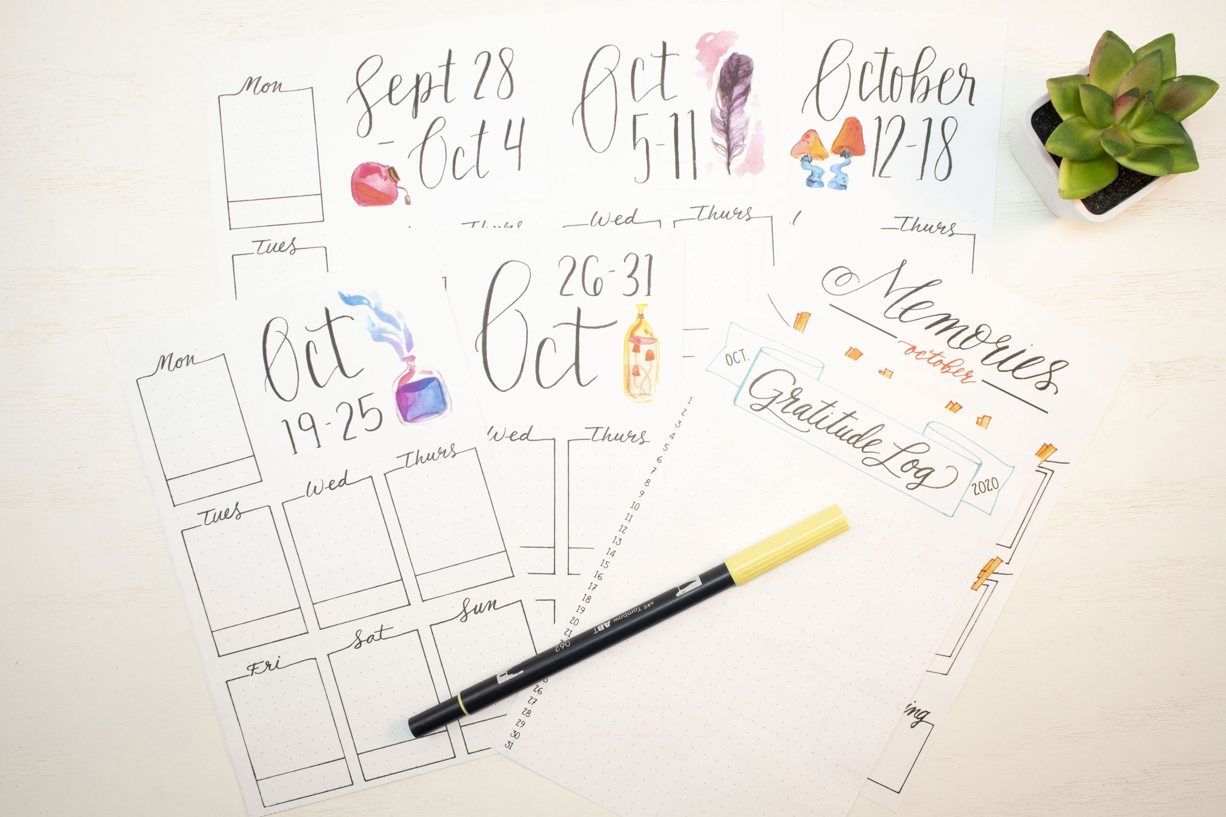October 2020 Bullet Journal weekly planning spreads.