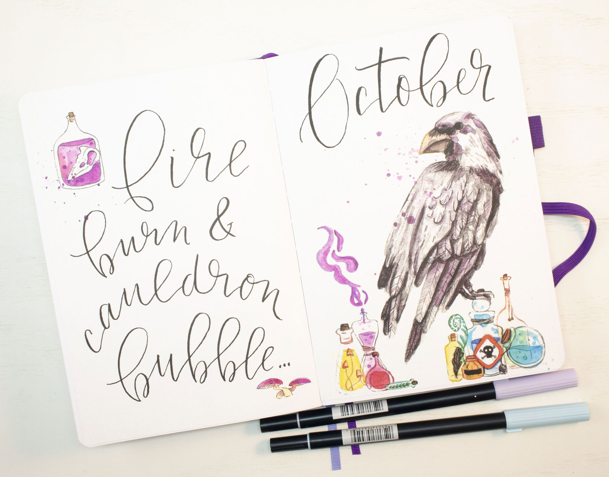 October 2020 Sheena of the Journal printable hello and quote spread.