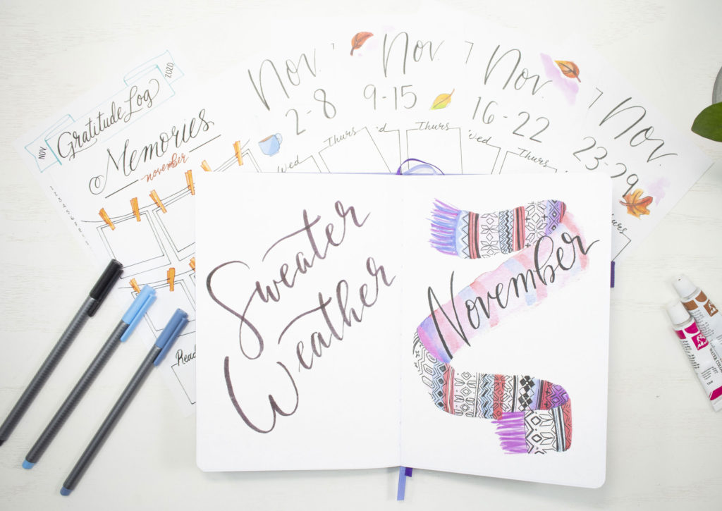 November 2020 Printable Quote, Title, and Weekly Spreads