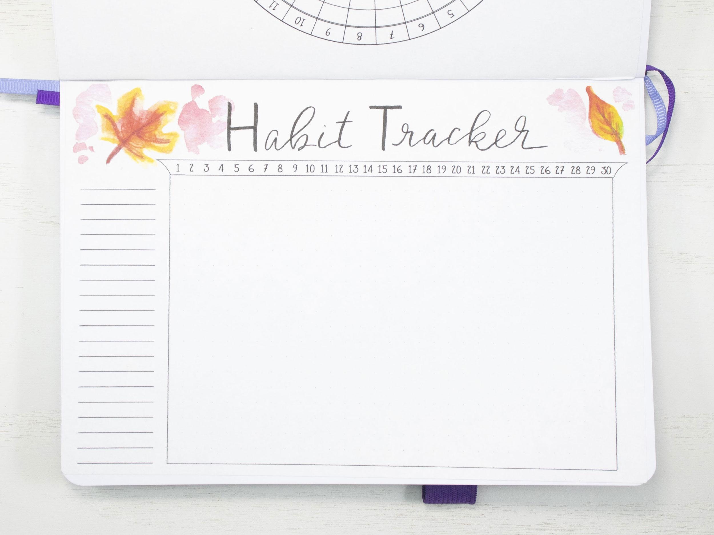 November 2020 Bullet Journal Habit Tracker