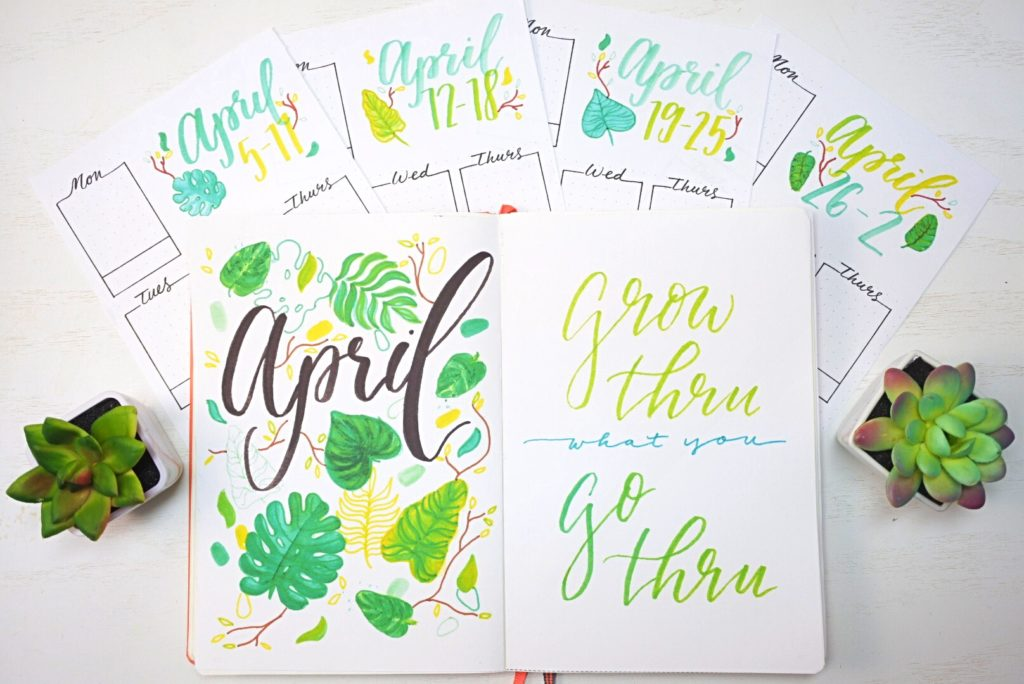 April Bullet Journal Printable Spreads