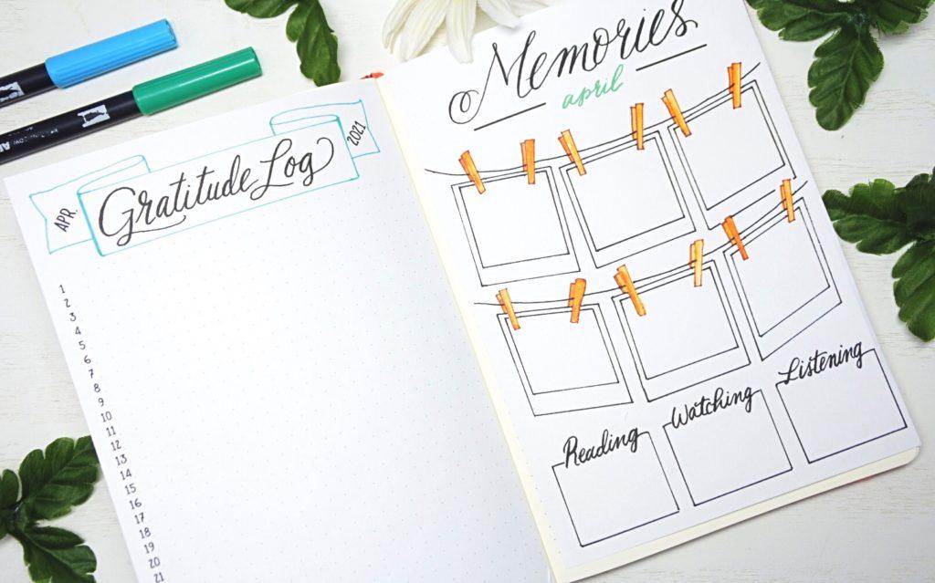 April 2021 Bullet Journal Gratitude Log & Memories Spread