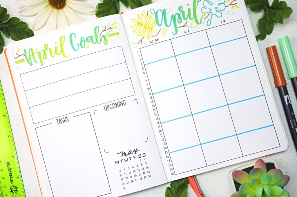 April 2021 Bullet Journal Monthly Spread