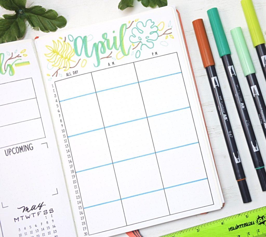 April 2021 Bullet Journal Monthly Calendar