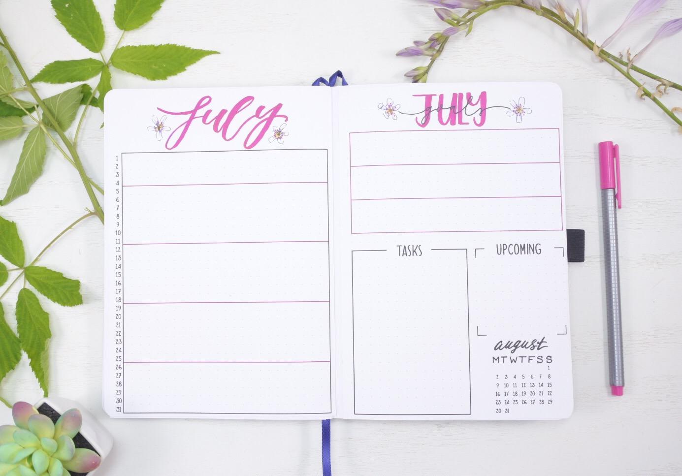 July 2021 Bullet Journal Calendar and Tasks Spread