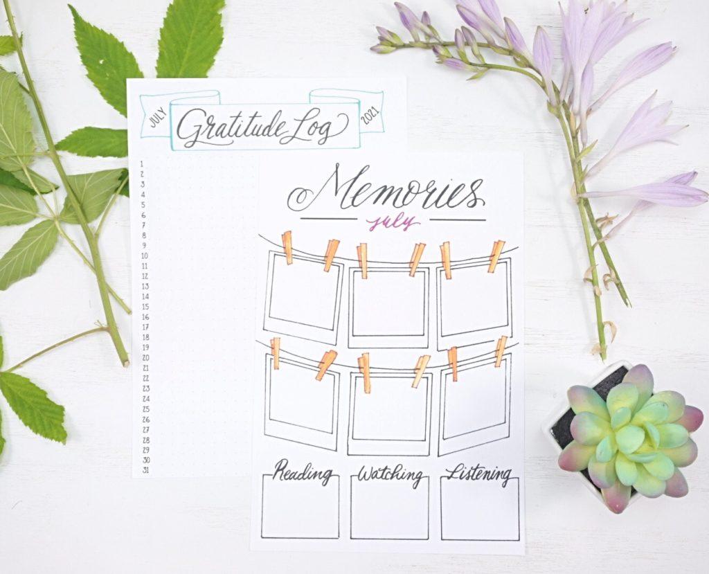 July 2021 Bullet Journal Gratitude and Memory Log